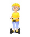 Vector illustration of an old active lady with glasses and protect helm, who is dressed in tunic and breeches. She is