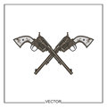 Vector illustration of old revolvers chicano style Royalty Free Stock Photo