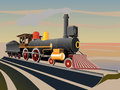 Vector illustration of old steam train. Royalty Free Stock Photo