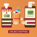 Vector illustration of online shopping, online food delivery Royalty Free Stock Photo