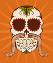 Vector illustration of orange sugar skull Stock Images