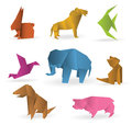 Vector illustration origami animals different color options Stock Image