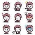 Set of girl`s facial illustration.Arabic girl`s character