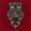 Vector illustration of ornamental owl bird illustrated in tribal boho owl with love heart for valentine day whith flowers on dark Royalty Free Stock Photos