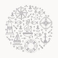Vector illustration with outlined seafaring and nautical signs forming a circle black white color palette minimalistic design Stock Images