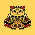 Vector illustration owl stylization native north american art single component totem black white red yellow colors drawn thick Royalty Free Stock Photo