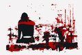 Vector illustration, paint, girl sitting back, red black gamma, Royalty Free Stock Photo