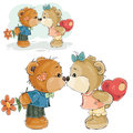 Vector illustration of a pair of brown teddy bears boy and girl kissing, declaration of love