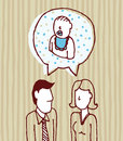 Vector illustration of parents talking about baby Stock Image