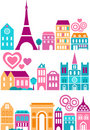 Vector illustration of Paris landmarks Stock Photography