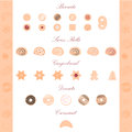 Vector illustration of pastry items biscuits swiss rolls gingerbread donuts etc Royalty Free Stock Photo