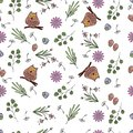 Vector illustration of pattern with flowers, leaves, owls.