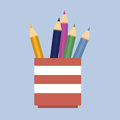 Vector illustration. Pencils in a pencil holder Royalty Free Stock Photo