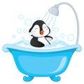 Vector Illustration Of Penguin Bathing
