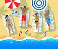 Vector illustration of people resting on sun beds