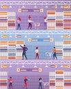 Vector Illustration People Visit Supermarket.