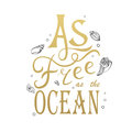 Vector illustration with phrase I need vitamin sea. Poster design art with creative slogan. Retro greeting card in sketch style. Royalty Free Stock Photo
