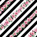 Rose seamless pattern black white stripe background