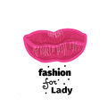 Vector illustration of pink lips for print, logo, banner
