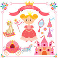 Vector illustration of pink princess