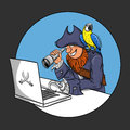 Vector illustration of pirate sitting in front of the computer looking through a spyglass into monitor parrot on Stock Photos