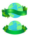 Vector illustration of planet Earth with leaves and green ribbon Royalty Free Stock Photo