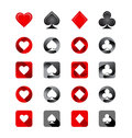 Vector illustration of playing card suits icons set on white background Royalty Free Stock Images