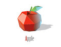 Vector illustration of polygonal red apple with leaf, modern low poly icon