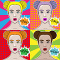 Vector illustration pop art girl on a colored background