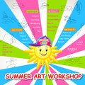 Vector illustration of poster design for summer art workshop Royalty Free Stock Image