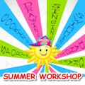 Vector illustration of poster design for summer art workshop Stock Images