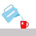 Vector illustration. pouring boiling water from the kettle into