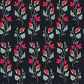 Vector illustration of pretty red and pink flowers seamles pattern on black background