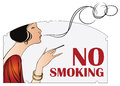 Vector illustration. Prohibition of smoking. Woman with a cigare Royalty Free Stock Photo