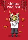 Vector illustration of puppet dragon hinese New Year