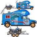 Vector illustration of quad bike, travel car and trailer in flat design