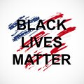 Vector illustration of quote Black Lives Matter on USA flag background.