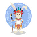 Vector illustration of rabbit or bunny shaman. Royalty Free Stock Photo