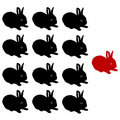 Vector Illustration of the rabbits group Stock Photo