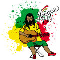 Vector illustration of rastaman playing guitar. Rastafarian guy with dreadlocks wearing yellow shirt, green pants, red shoes. Royalty Free Stock Photo