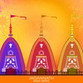 Vector Illustration Of Ratha Yatra Of Lord Jagannath Is Also Known As Bahuda Jatra