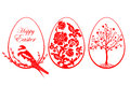 Vector illustration of red Easter eggs on white background.
