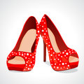 Vector illustration red fashion pretty shoes Royalty Free Stock Images