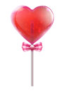 Vector illustration red heart shaped candy lollipop isolated white background Stock Photo