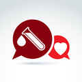 Vector illustration of a red heart symbol and test tube with a b blood drop medical cardiology label blood donation speech Stock Image