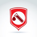 Vector illustration of a red shield symbol and test tubes with a