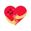 Vector illustration of red smiling heart hug on white background.