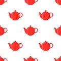 Vector illustration of red teapot, seamless pattern. Cartoon flat style