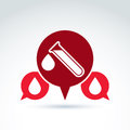Vector illustration of a red test tube with a blood drop. Medica