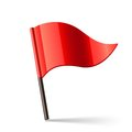 Vector illustration red triangular flag Royalty Free Stock Photos